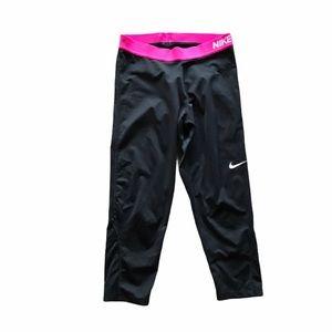 Nike Pro Black Capri Leggings w/ Pink Waistband